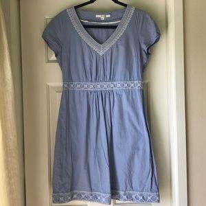 Boden Blue Embroidered V-Neck Dress